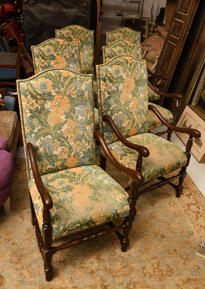 Super Set 6 Jacobean Style Tall Back Dining Chairs Bralicious Painted Fabric Chair Ideas Braliciousco