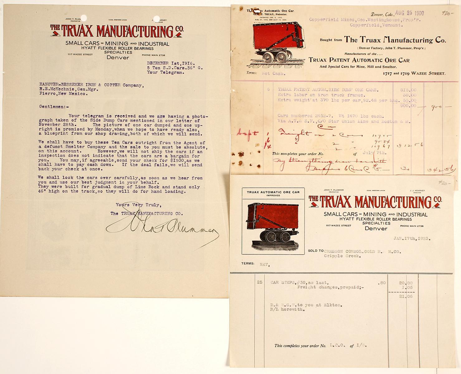 Truax Ore Car Manufacturing Co. Ephemera, Denver   Holabird\'s ...