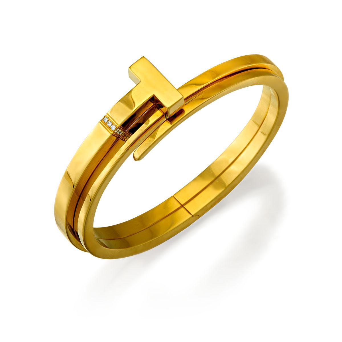 18ct Gold And Diamond Tiffany T Square Wrap Bangle Tiffany Co