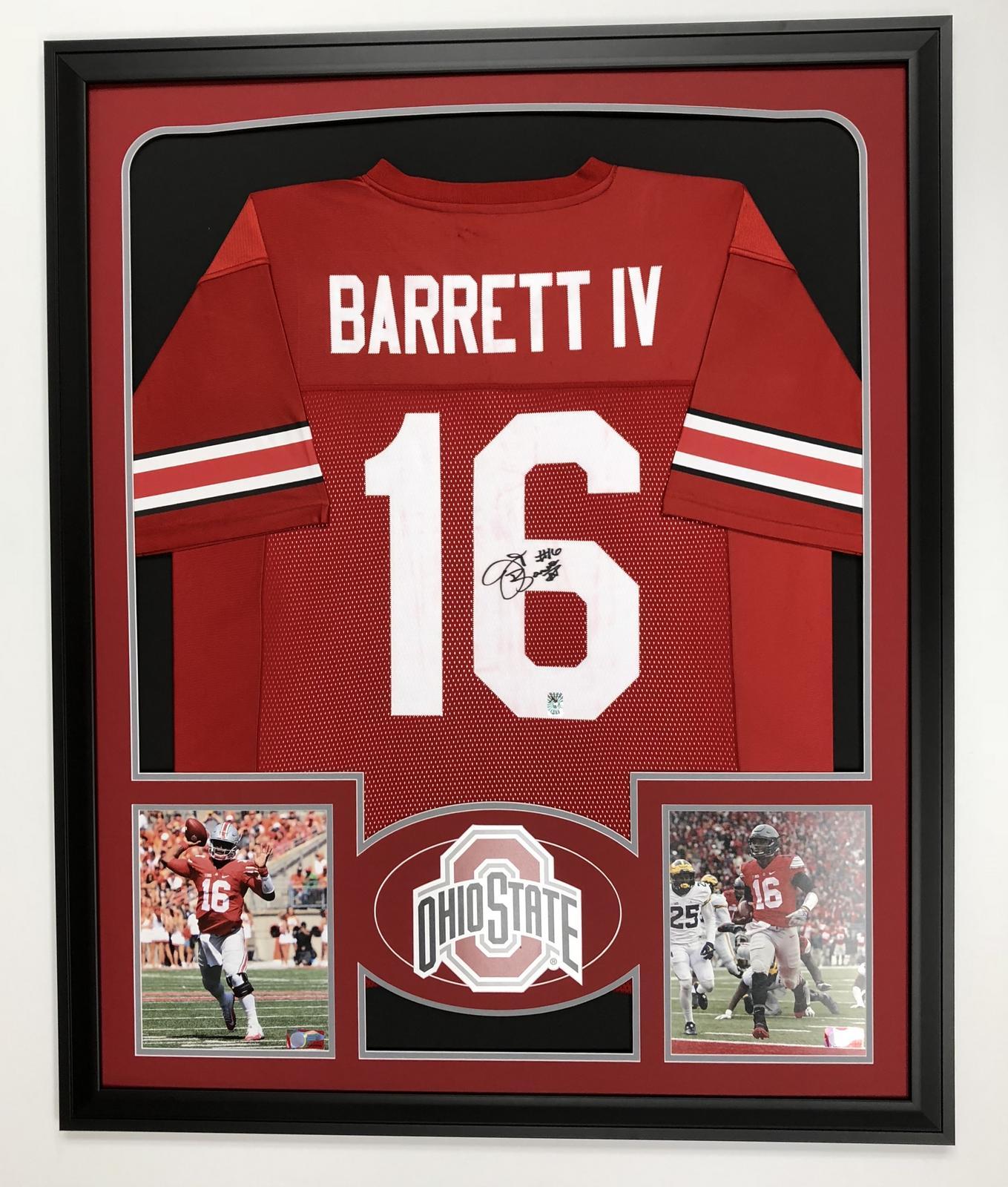 new style 28ed5 49cd3 JT Barrett Ohio State Buckeyes Framed Signed Jersey ...