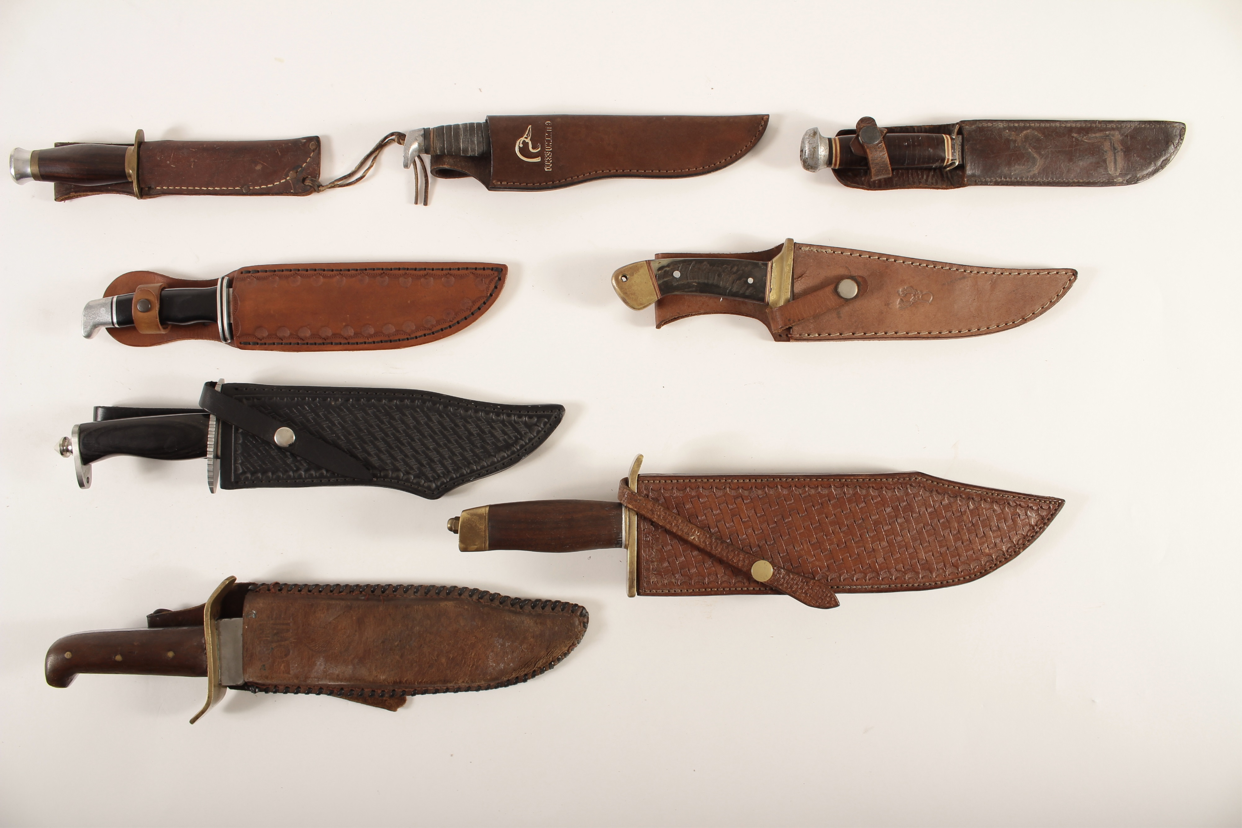 Eight Vintage and Newer Knives, Bowie and Others
