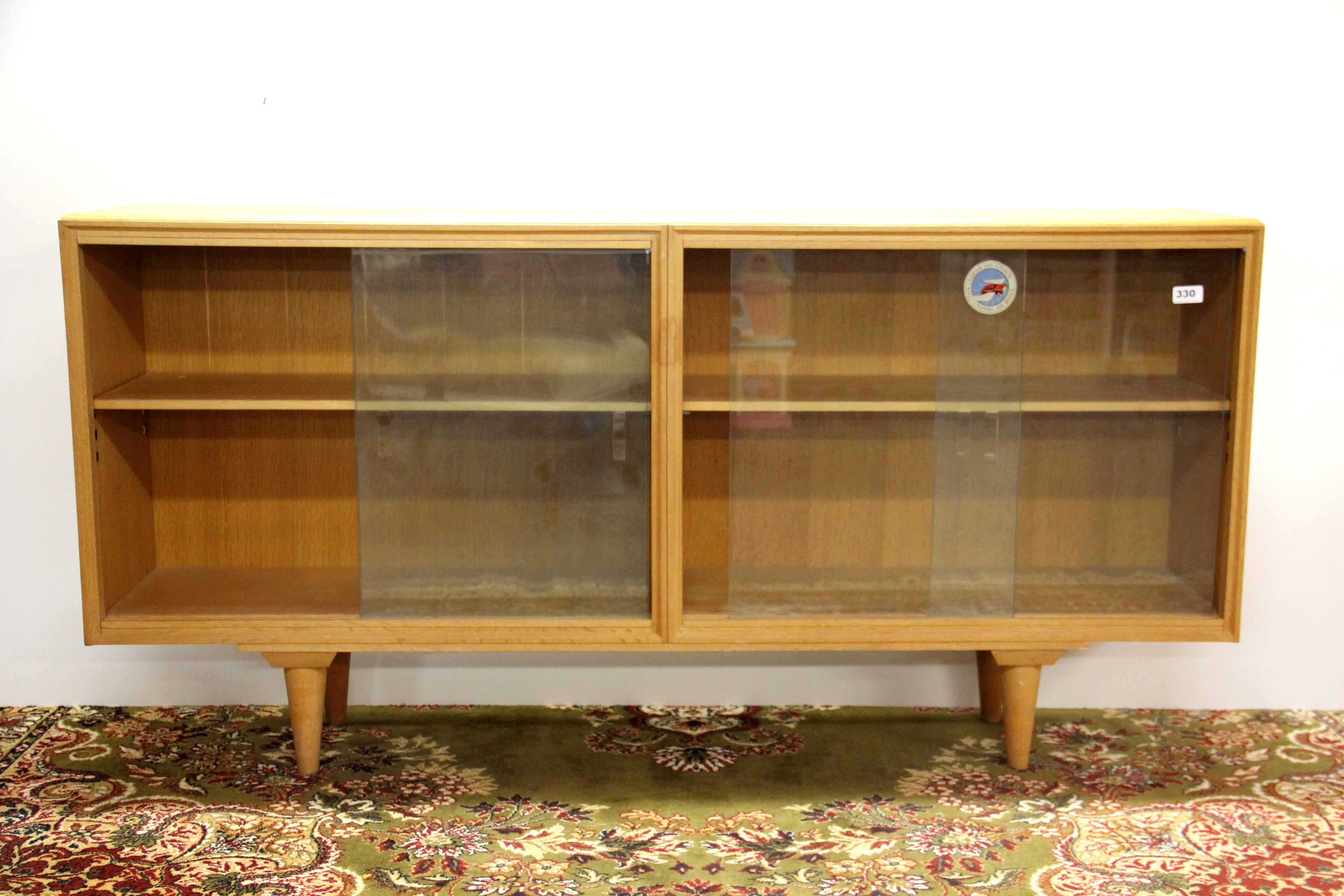 A 1950u0027s Merridew Blonde Walnut Bookcase, 153 X 76cm.