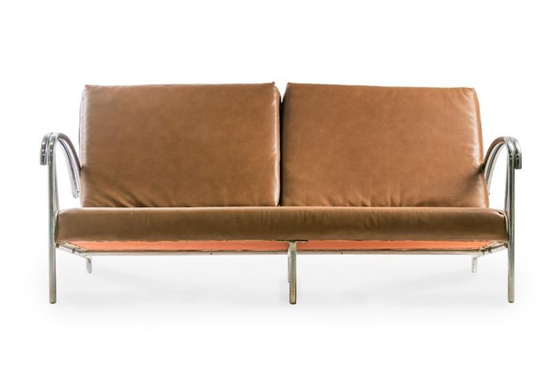 Art Deco Style Chromed Metal Tubular Sofa