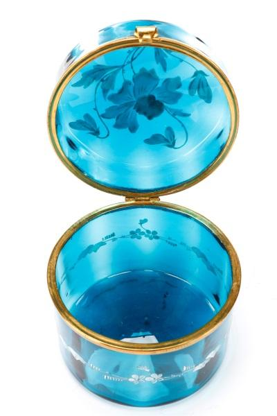 Moser Peacock Blue Glass Casket Trinket Box