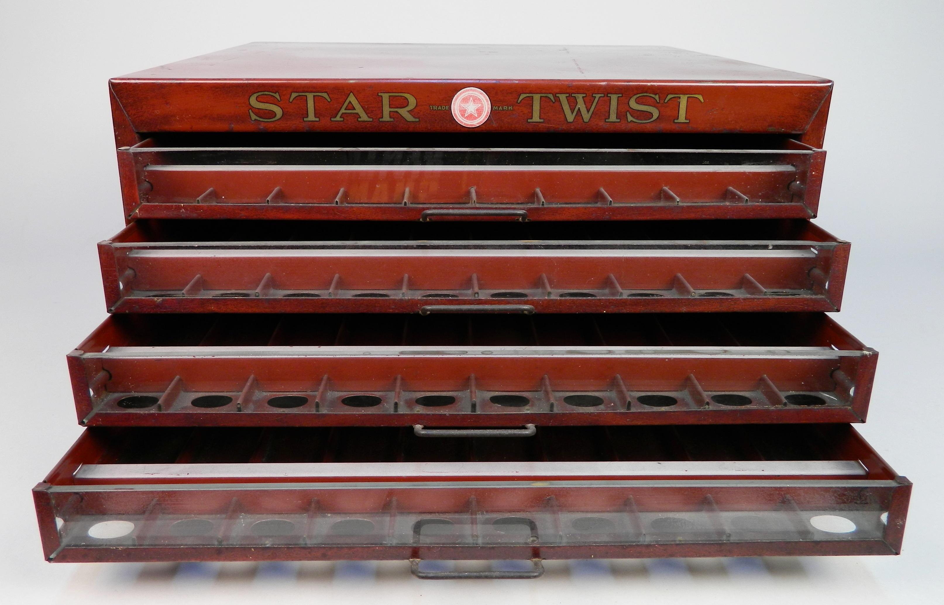 Star Twist Tin Sewing Spool Cabinet