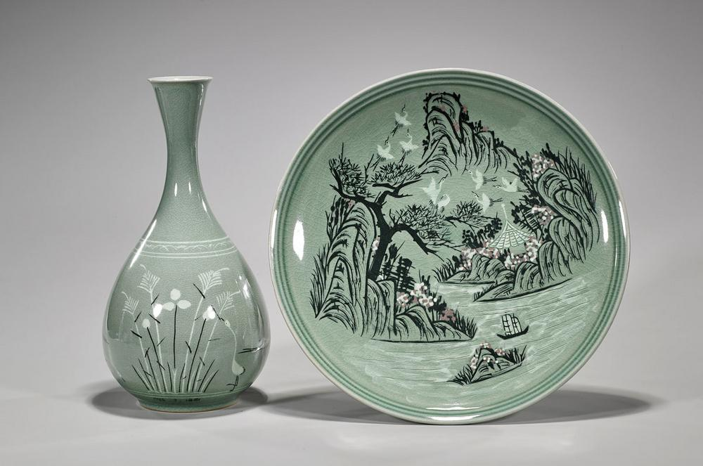 Two Korean Celadon Ceramics Lofty Marketplace