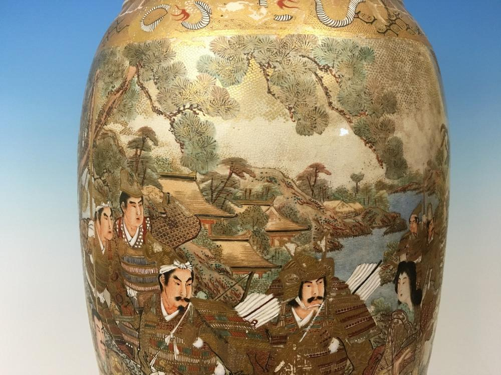 Antique Japanese Huge Satsuma Vase With Figurines Meiji Period