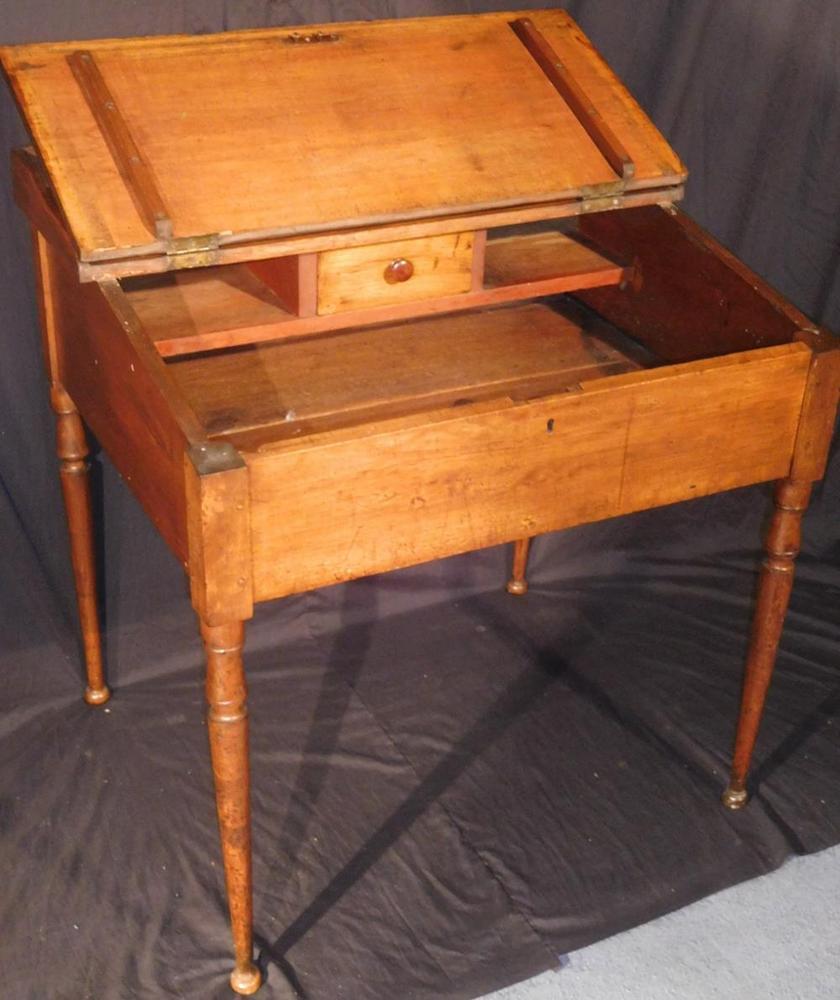 Antique Early 1800's Primitive Maple Slant Lift Top Writing Desk w/ Ba –  Lofty Marketplace - Antique Early 1800's Primitive Maple Slant Lift Top Writing Desk W