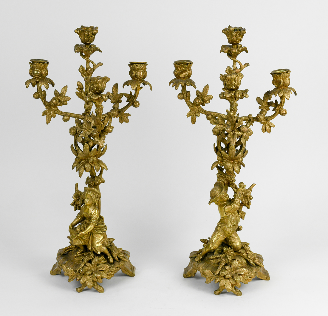 Rococco style gilt bronze four arm candelabra