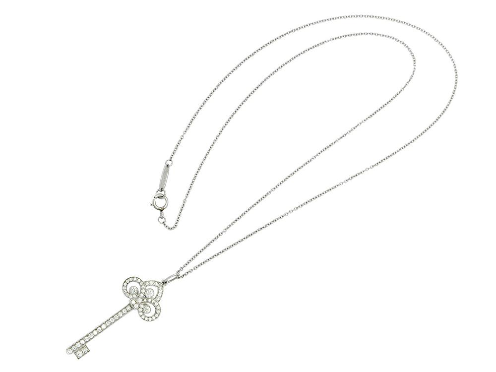 834175241 A Diamond and Platinum 'Fleur-de-Lis Key' Pendant Necklace, Tiffany & –  Lofty Marketplace