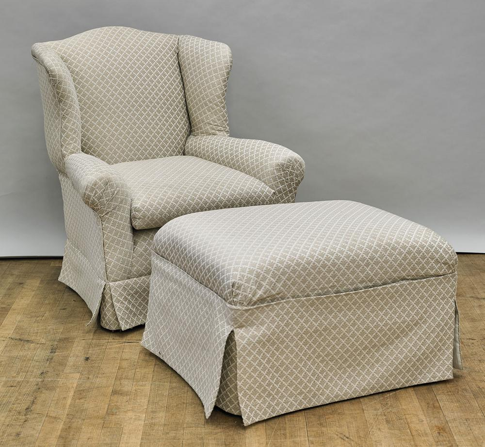 Carved Upholstered Arm Chair With Matching Ottoman