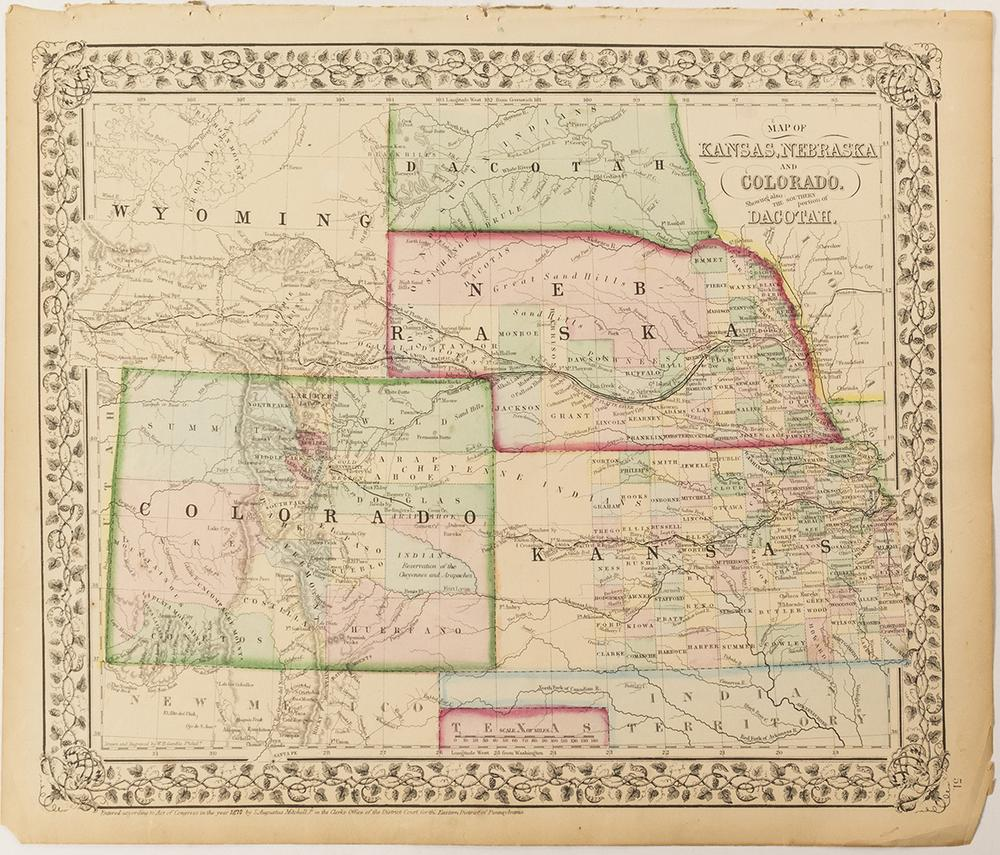 C 1870s Map Of Colorado Dacotah Nebraska Kansas Lofty Marketplace