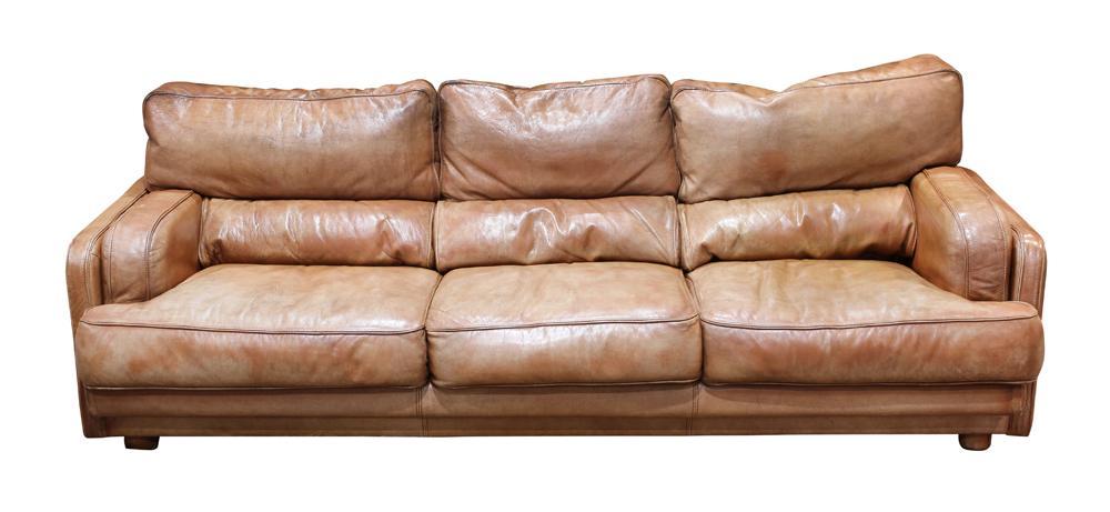 Italian Natuzzi brown leather sofa