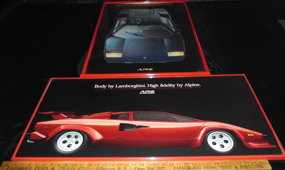 Vintage 1980\u0027s Lot of 2 Alpine Car Stereo Lamborghini Countach Framed  Poster Ads