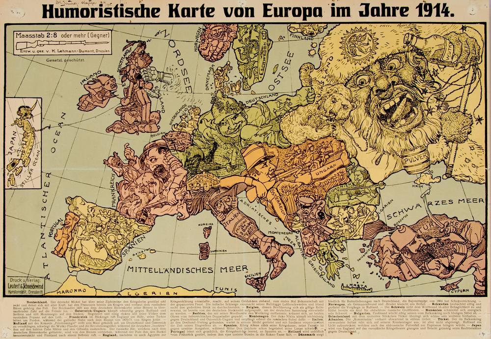 Erster Weltkrieg Humoristische Karte Von Europa Im Jahre 1914