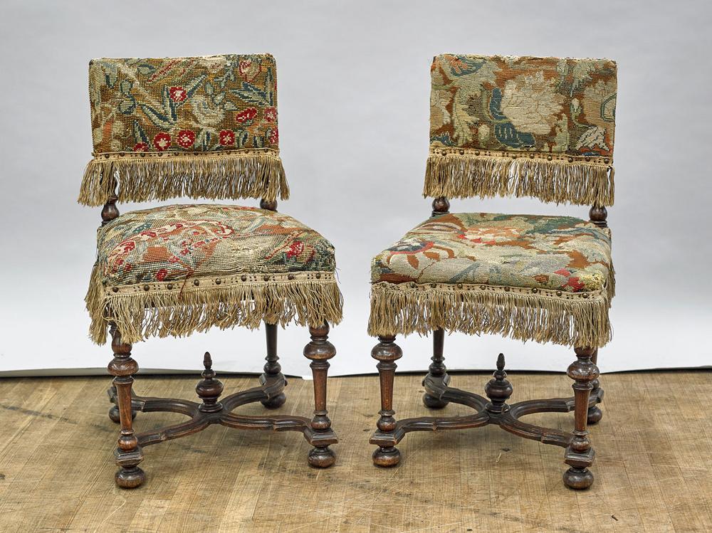 Pair Antique Needlepoint Upholstered Wood Chairs - Pair Antique Needlepoint Upholstered Wood Chairs – Lofty Marketplace
