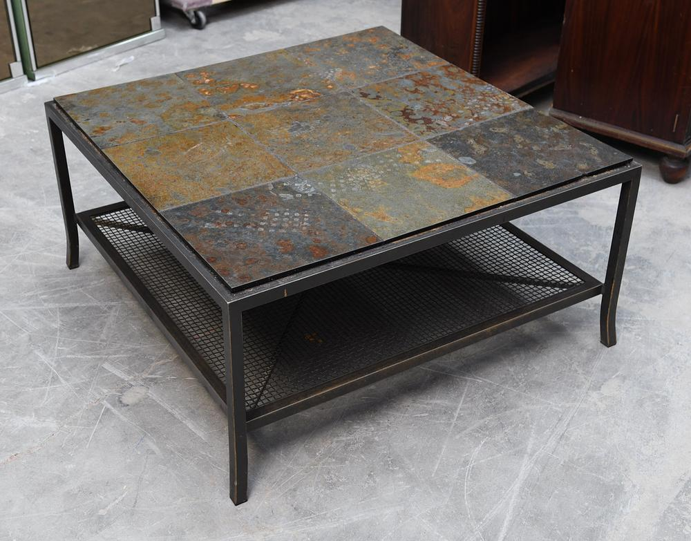 Contemporary Stone Tile Top Coffee Table