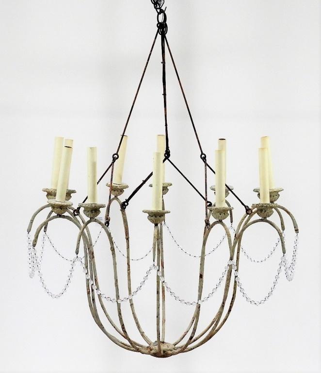 Niermann weeks wrought iron crystal chandelier