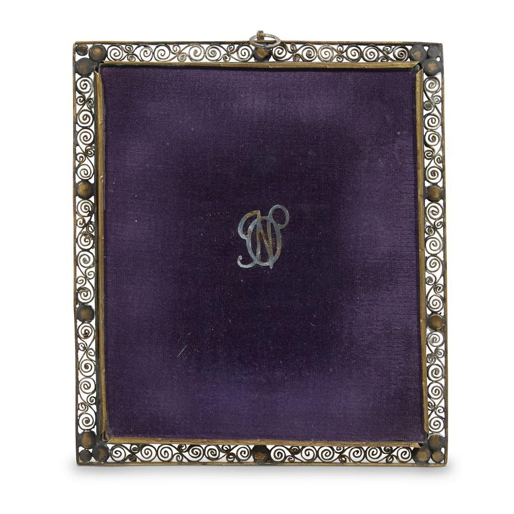 Two miniatures in pearl-set giltmetal and bone-mounted frames ...