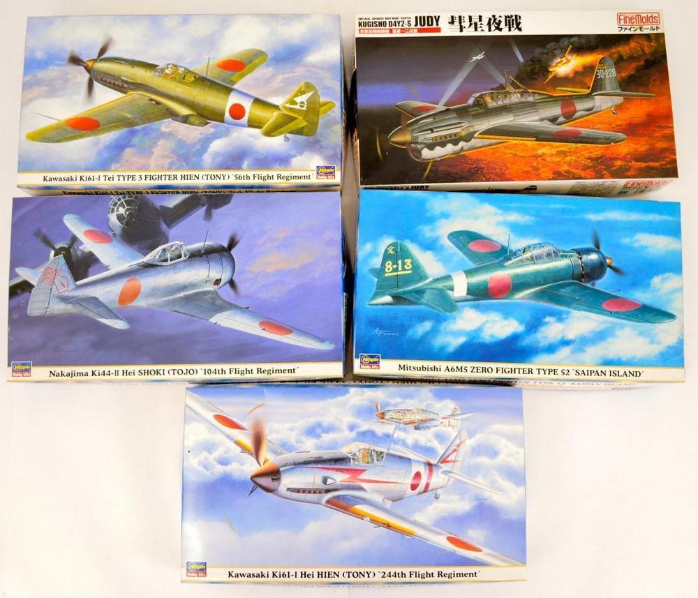 Four Hasegawa & 1 Fine Molds WWII Japanese aircraft model kits MIB