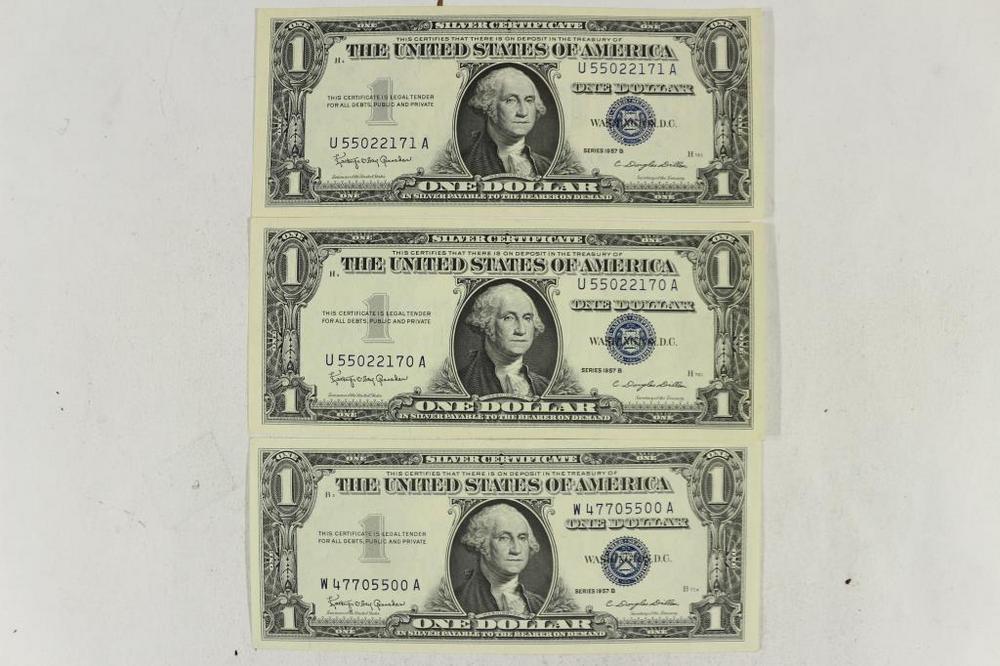 3-1957-B $1 SILVER CERTIFICATES CRISP UNC – Lofty Marketplace
