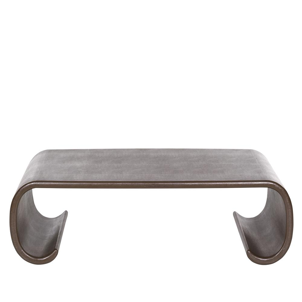 karl springer leather scroll coffee table – lofty marketplace
