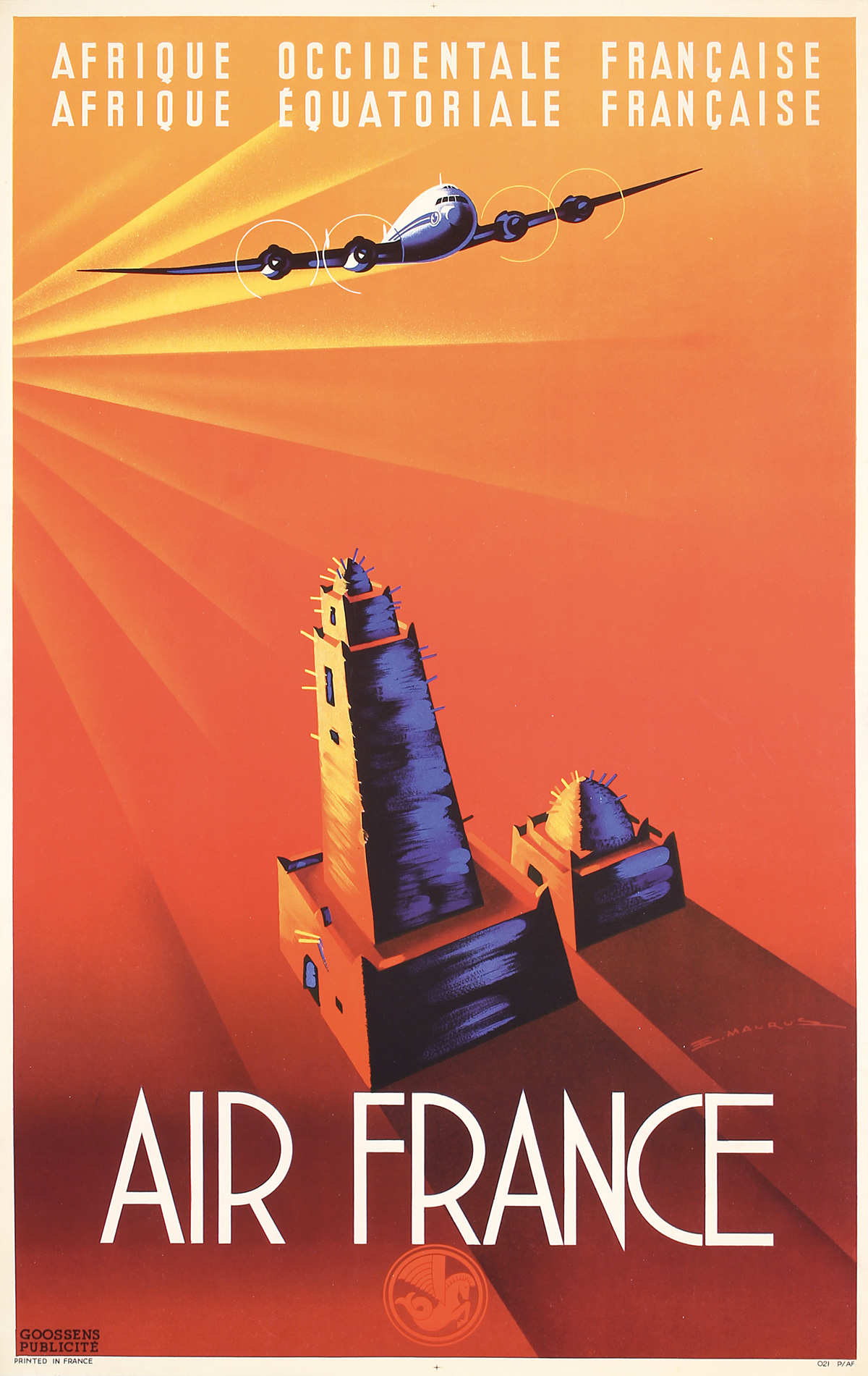 Affiche Air France Afrique Occidentale Afrique Equatoriale Guerra