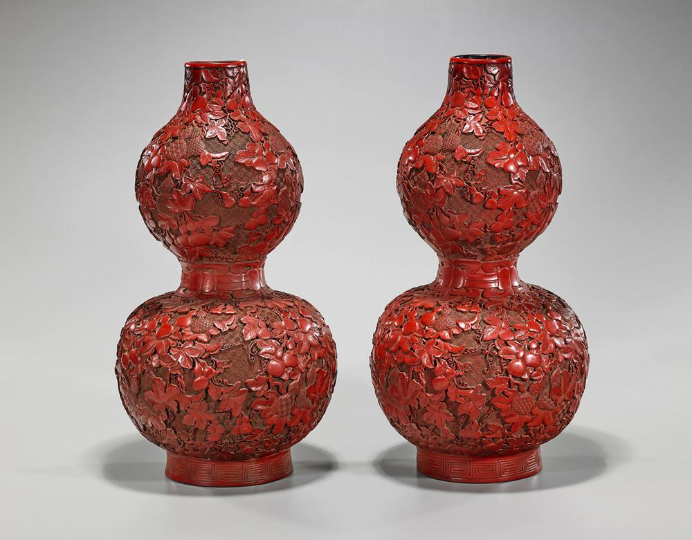 Pair Cinnabar Lacquer Double Gourd Vases Lofty Marketplace