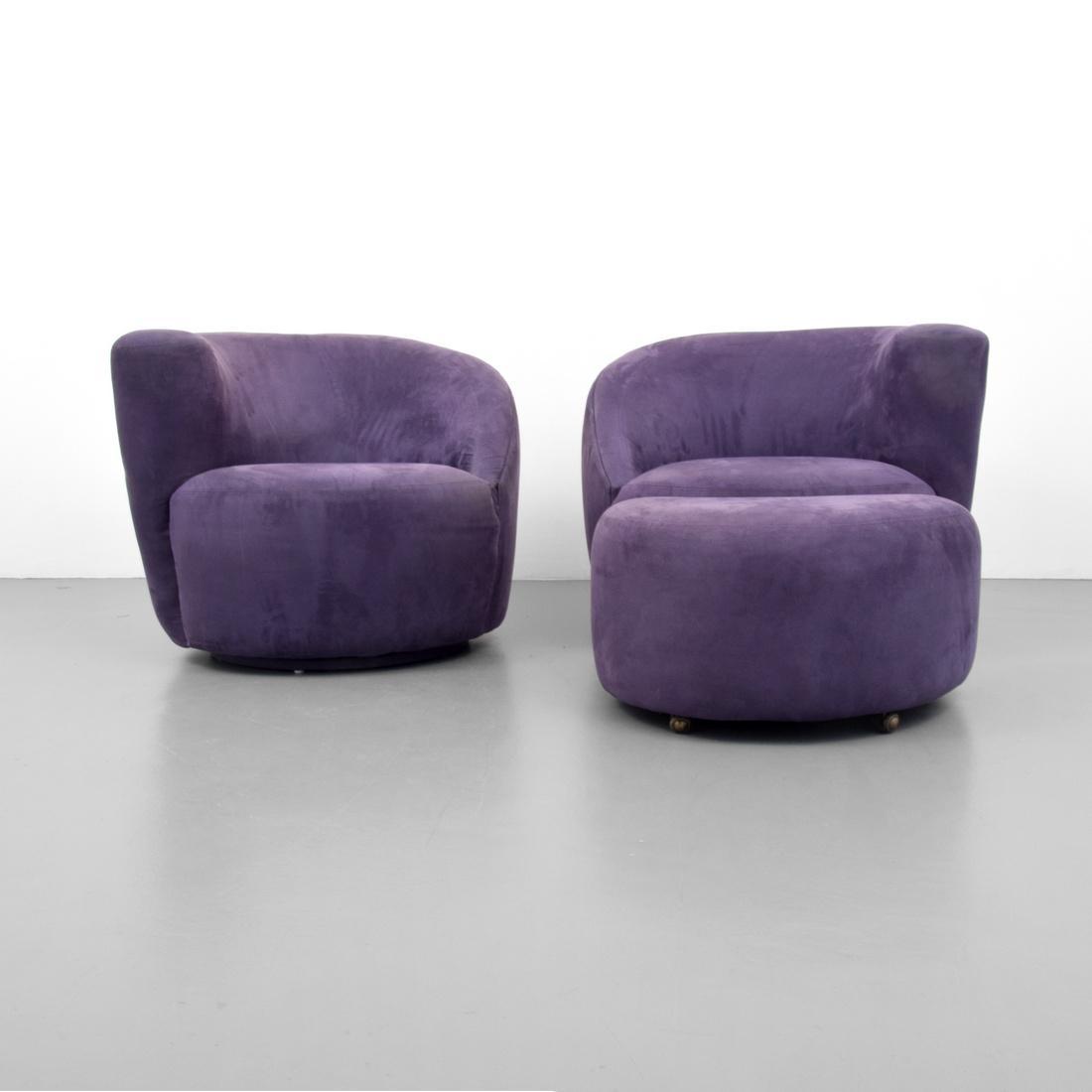 Elegant Vladimir Kagan CORKSCREW Swivel Chairs U0026 Ottoman