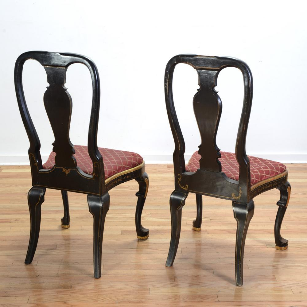 Pleasant 6 Queen Anne Style Black Japanned Dining Chairs Creativecarmelina Interior Chair Design Creativecarmelinacom