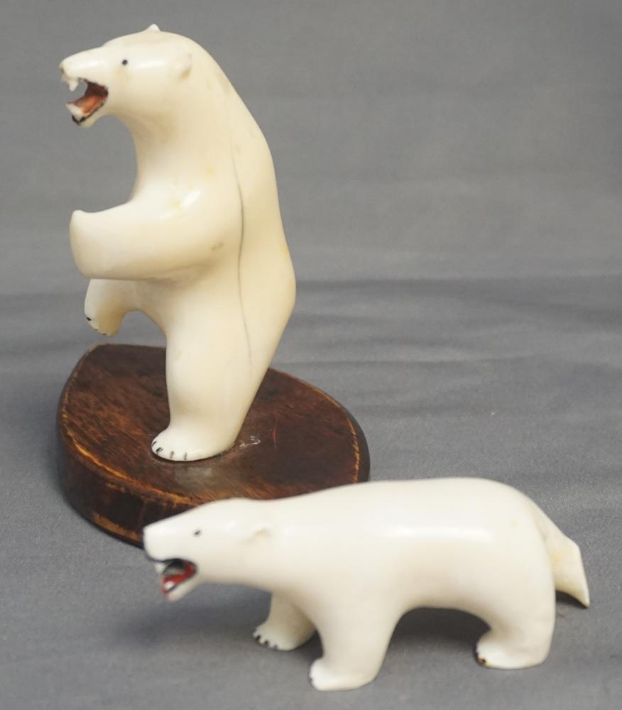 2 INUIT CARVED POLAR BEARS WALRUS FOSSIL IVORY