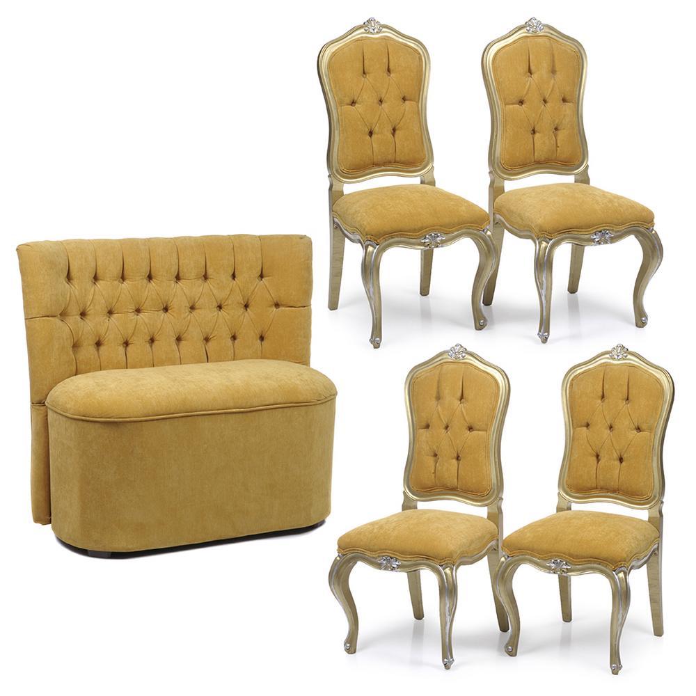 Lote De Muebles Siglo Xx Elaborados En Madera Con Tapicer As  # Muebles Color Mostaza