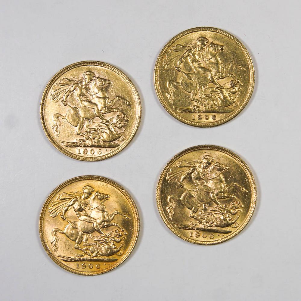 Four 1906 Great Britain Sovereign Gold Coins
