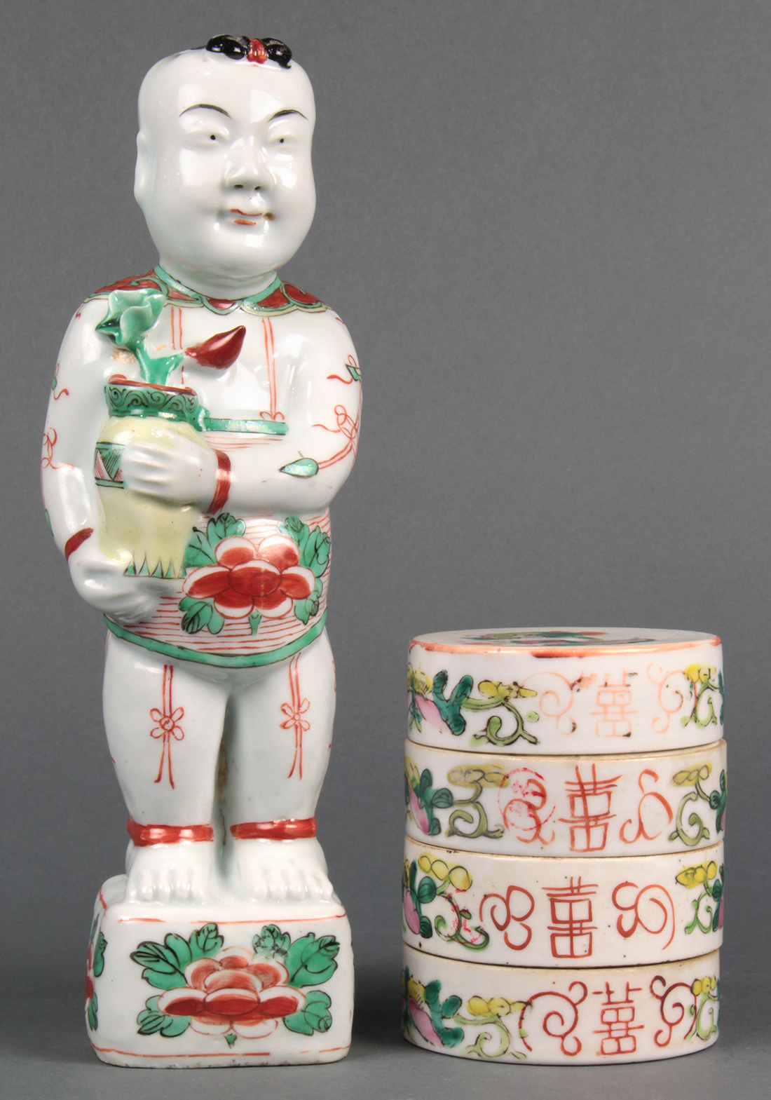 Chinese Tiered Box and Figure