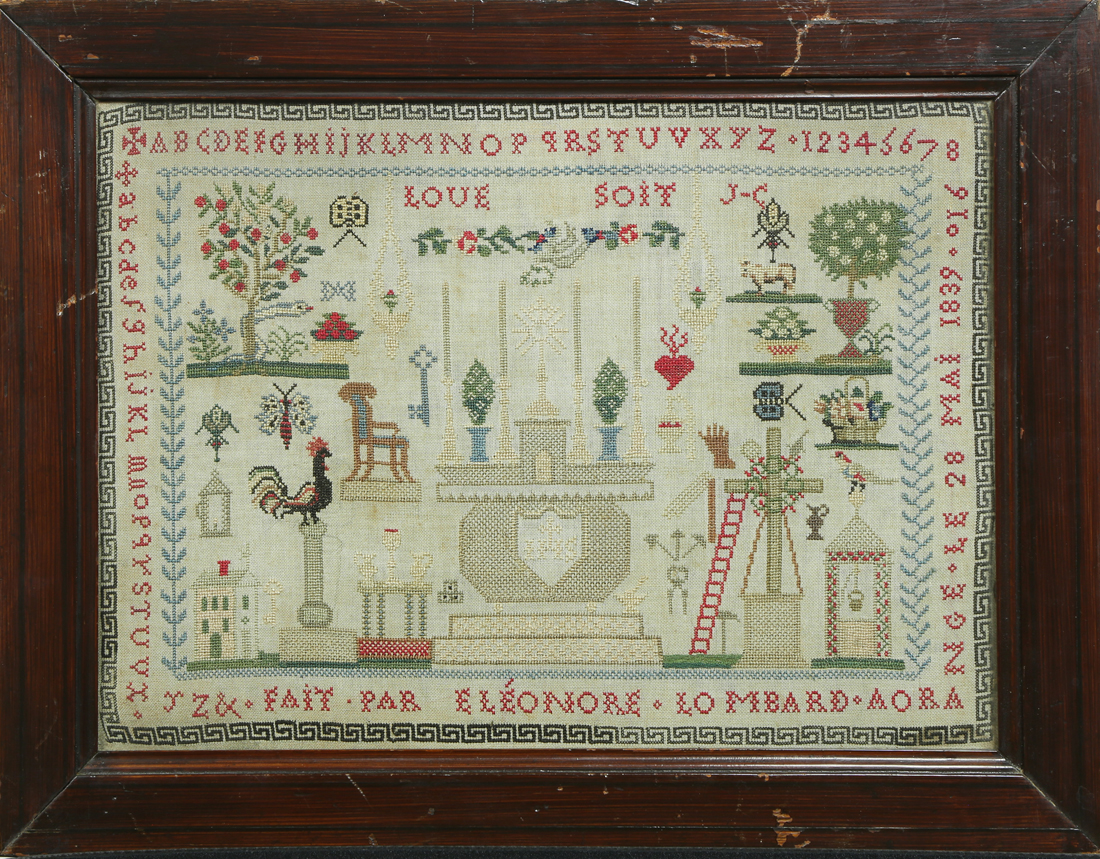 French needlepoint sampler, executed in 1839