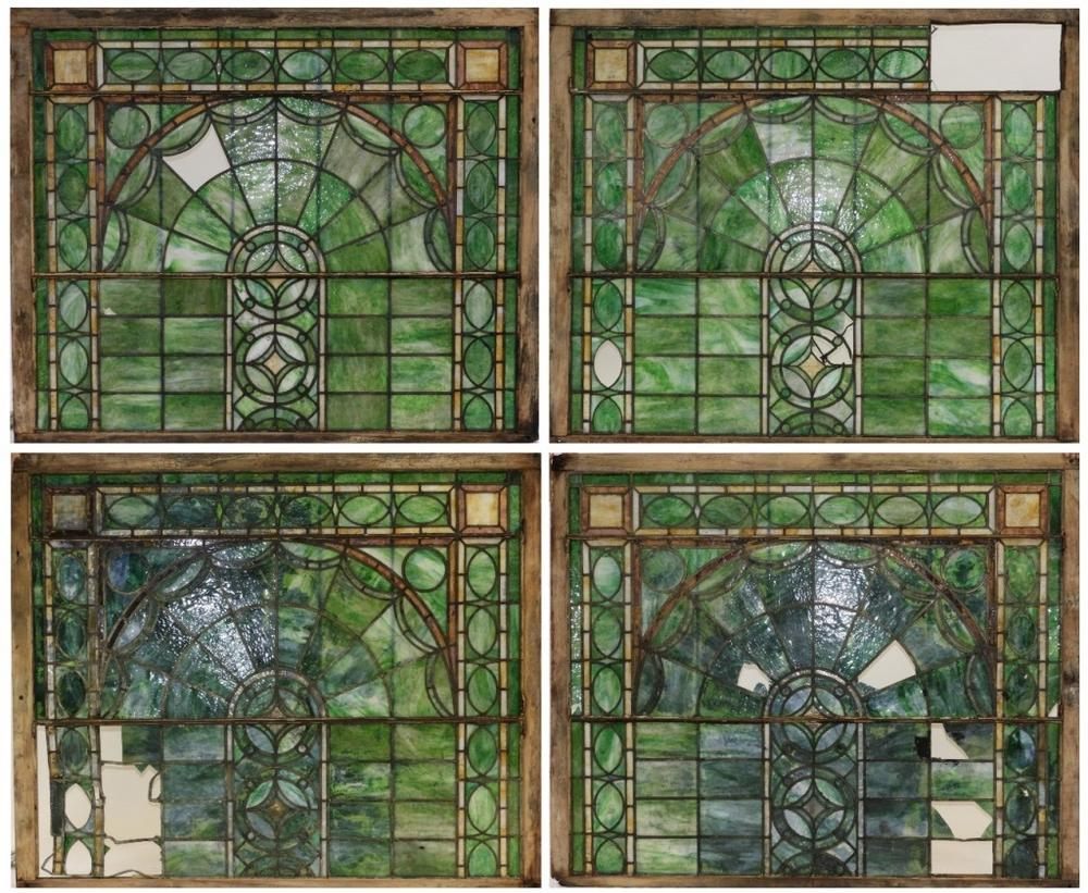 Large Arts Crafts Stained Glass Window Panels Lofty Marketplace