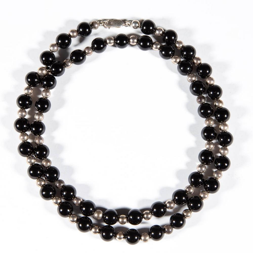 Tiffany Co Sterling Silver And Onyx Bead Necklace Lofty Marketplace