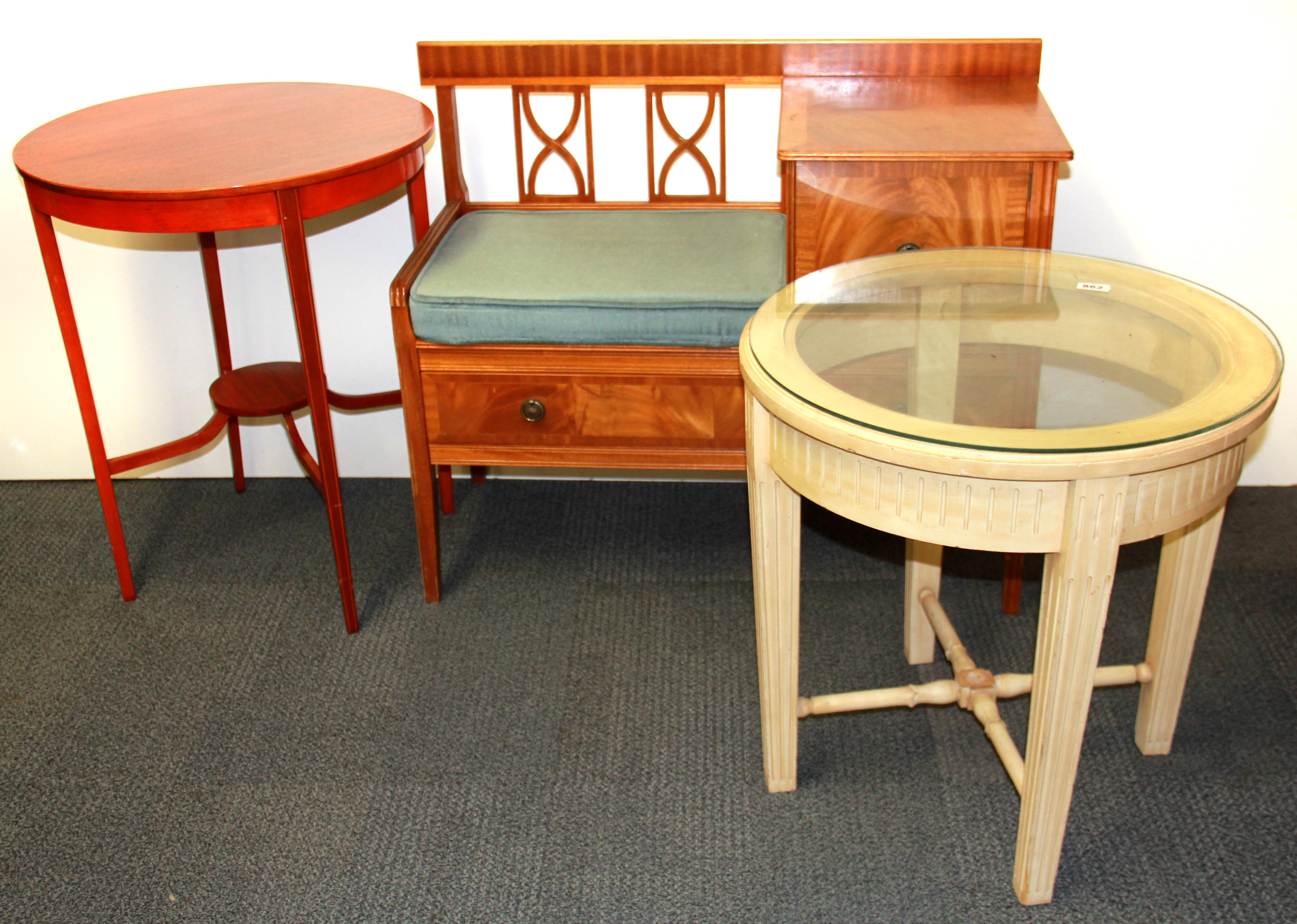 A Hall Table, A Circular Side Table And A Glass Topped Side Table.