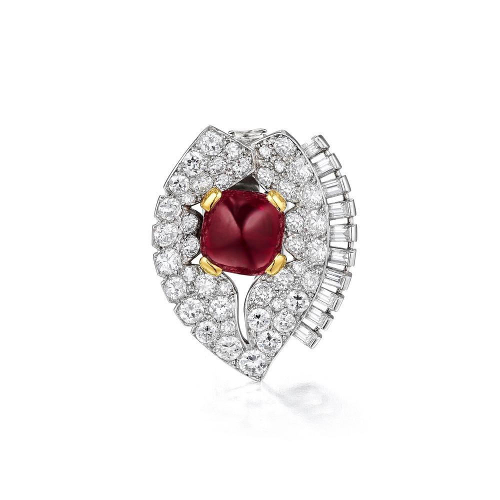 Cartier Art Deco Convertible Burmese Ruby and Diamond Necklace, Brooch set*