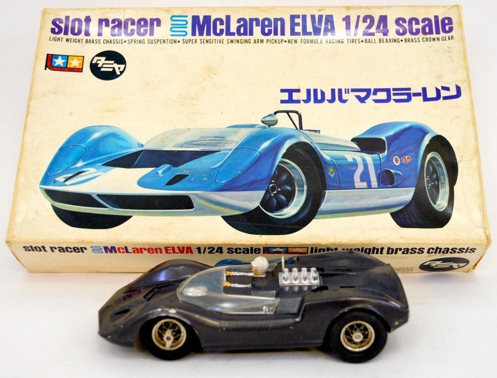 Vintage Tamiya 1/24 McLaren Elva built up slot car kit in OB