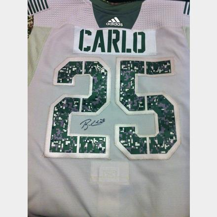 quality design 8dccd 5a355 Brandon Carlo- Warm Up Worn Signed Military Appreciation ...