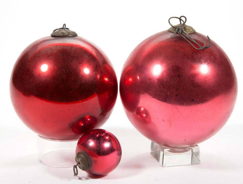 Antique German Kugel Glass Christmas Ornaments Lot Of Three