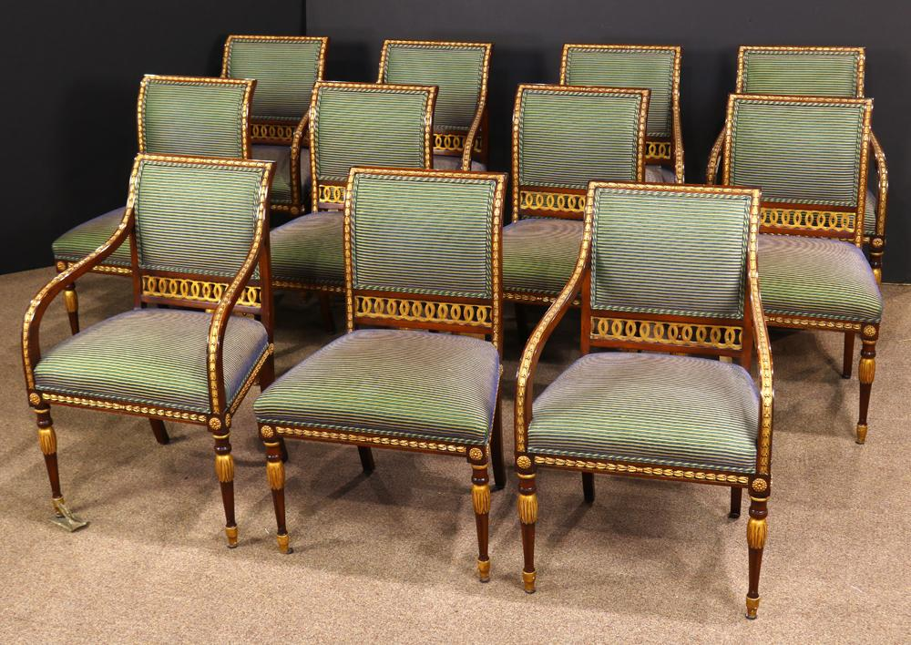 Swedish Neoclical Style Mahogany And Giltwood Dining Chairs