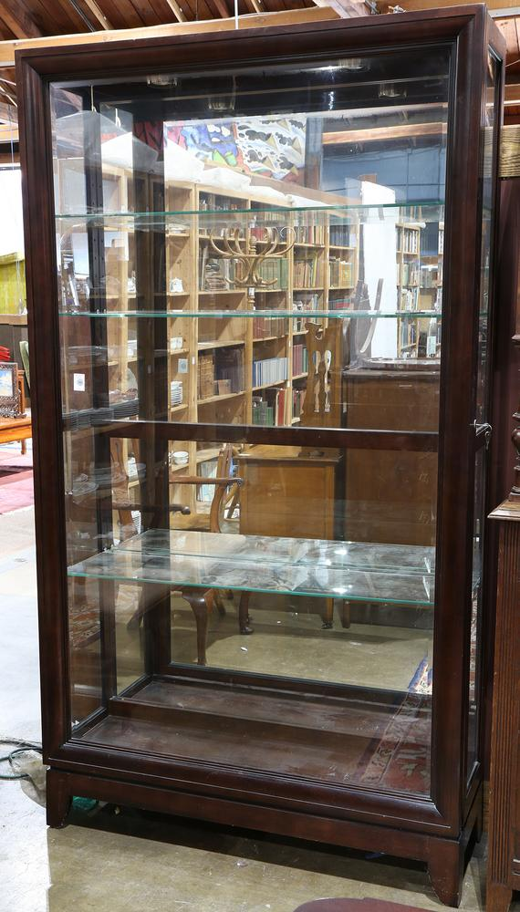 Modern Custom Gany Lighted Display Cabinet Having Rectangular Form With Adjule Glass Shelves A Mirrored Back And Bevel
