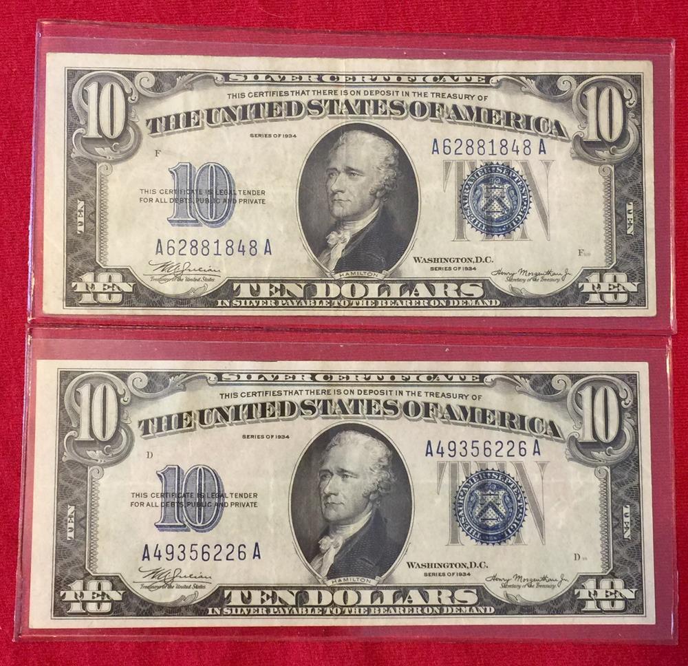1934 10 Ten Dollar Fr1701m Silver Certificate Mule A A Block Blue