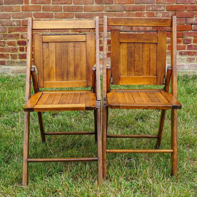 Marvelous Pair Of Retro Wood Folding Church Chairs Harritt Group Inc Ncnpc Chair Design For Home Ncnpcorg