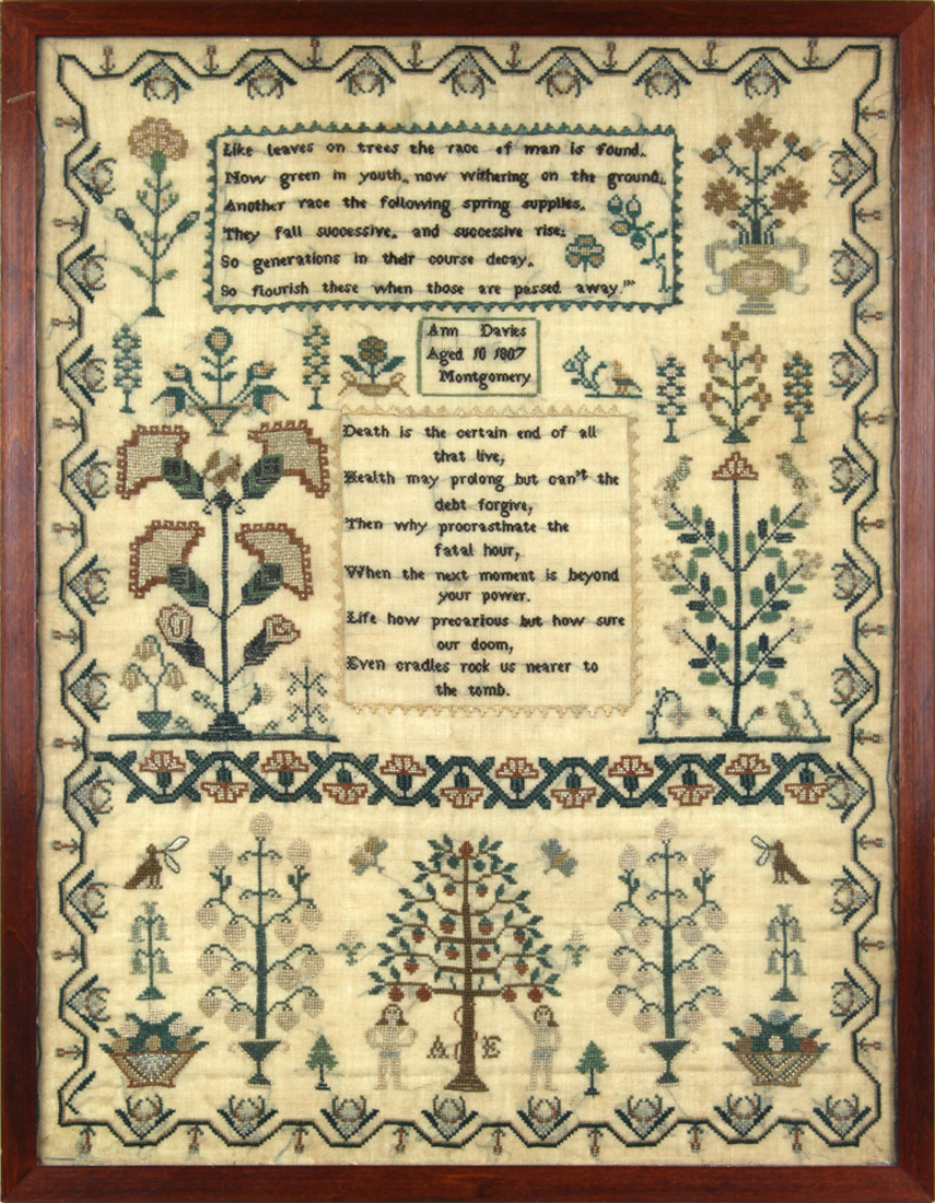 Needlework textile executed in 1807 by Ann Davies aged 10