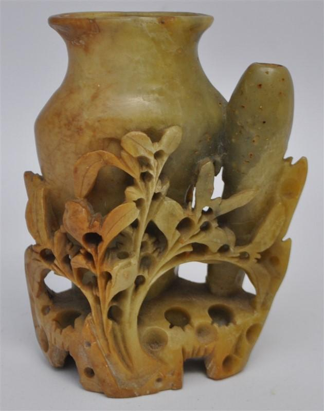 Carved Antique Chinese Soapstone Vase Lofty Marketplace