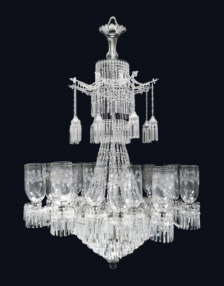 A bohemian etched glass chandelier lofty marketplace a bohemian etched glass chandelier mozeypictures Image collections