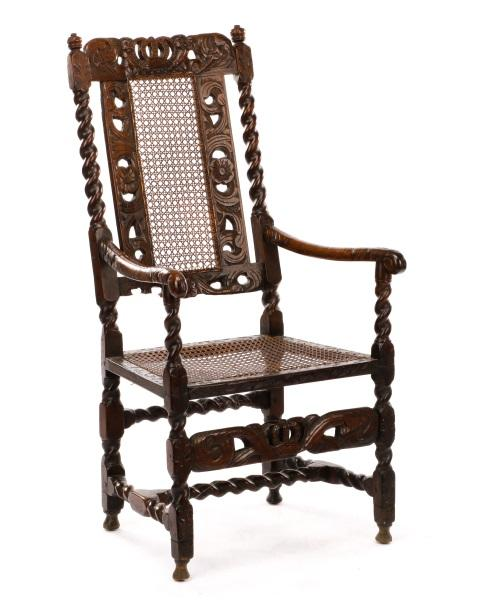 Charles II Period Walnut Caned Armchair